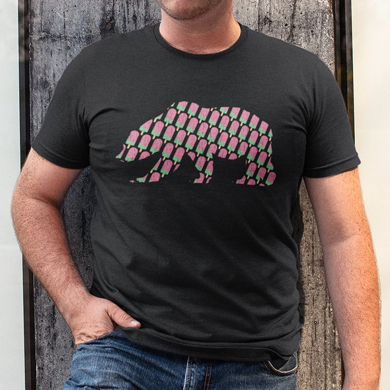 Popsicle Bear in Men's Heavyweight T-Shirt Black by The Bearly Brand