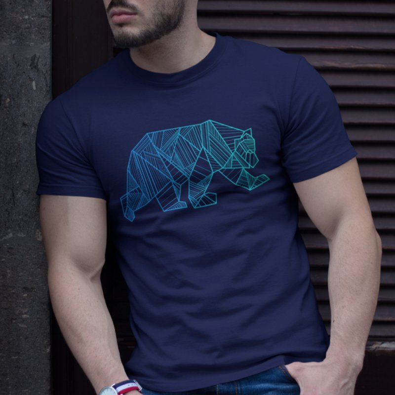 Geometric Bear in Men's Heavyweight T-Shirt Navy by The Bearly Brand