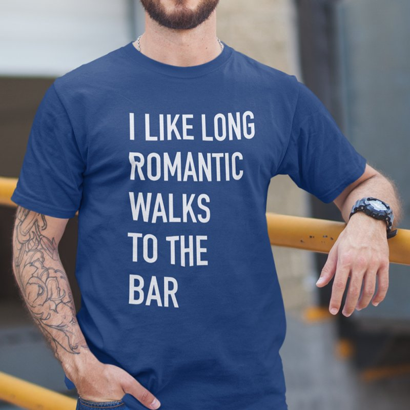 Long Romantic Walks To The Bar in Men's Heavyweight T-Shirt Royal Blue by The Bearly Brand