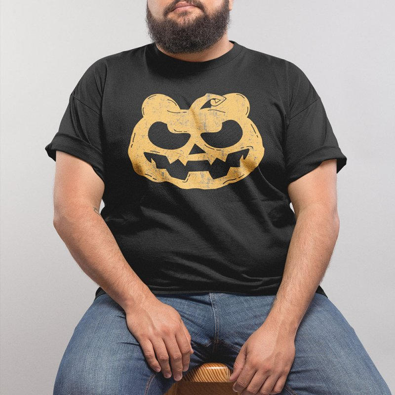Pumpkin Bear Jack O'Lantern Head in Men's Heavyweight T-Shirt Black by The Bearly Brand