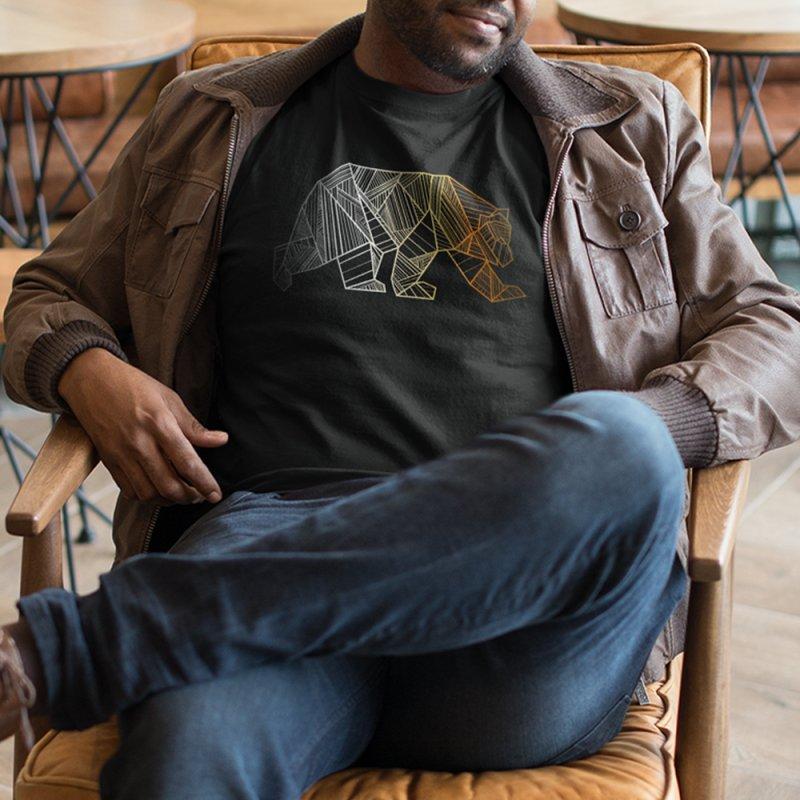 Geometric Bear Pride LGBTQ+ in Men's Heavyweight T-Shirt Black by The Bearly Brand