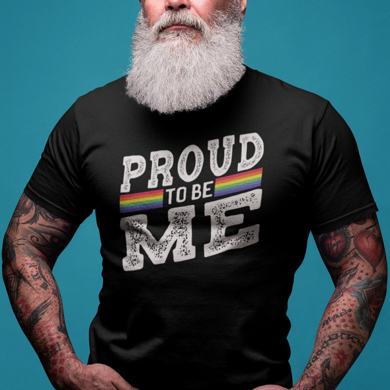 Proud To Be Me LGBTQ+ in Men's Heavyweight T-Shirt Black by The Bearly Brand