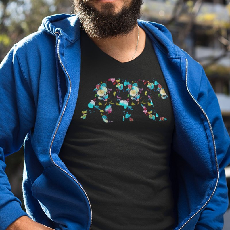 Summer Floral Bear in Men's Heavyweight T-Shirt Black by The Bearly Brand