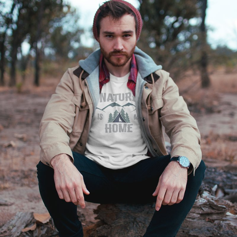 Nature Is My Home in Men's T-Shirt Heather Grey by The Bearly Brand
