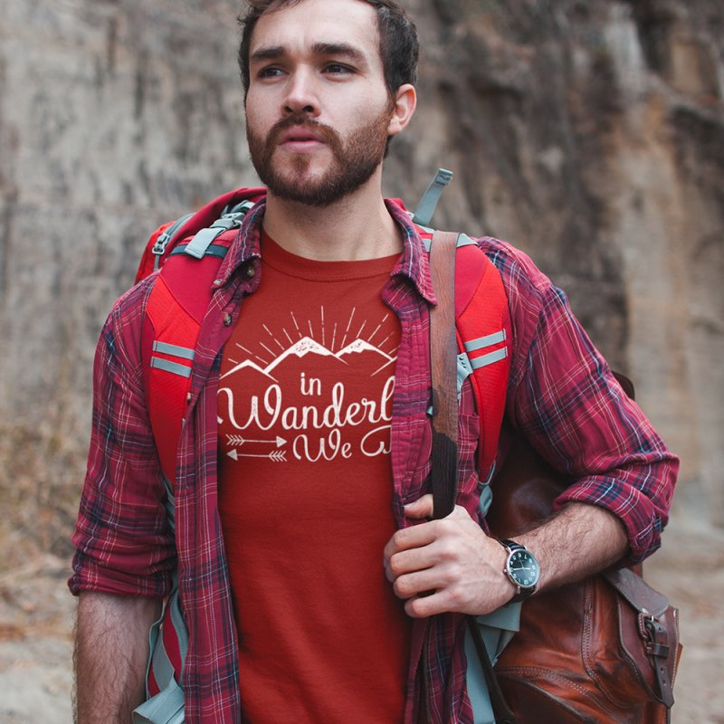 In Wanderlust We Trust in Men's Regular T-Shirt Red by The Bearly Brand