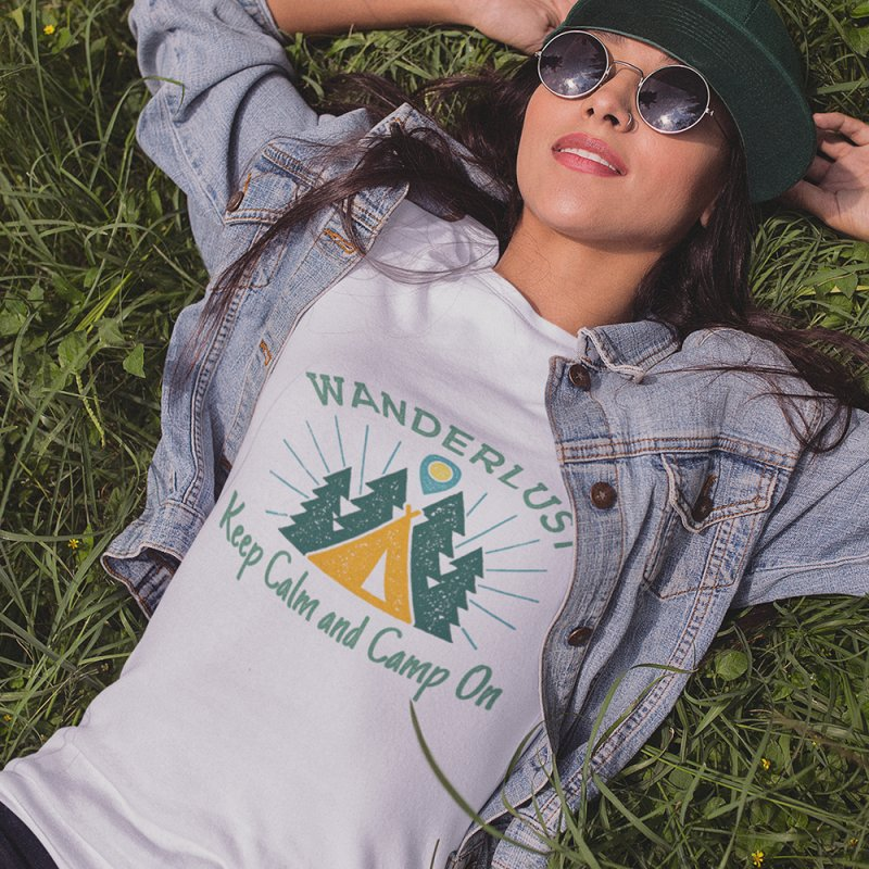 Wanderlust Keep Calm and Camp On in Women's Fitted T-Shirt Heather Grey by The Bearly Brand