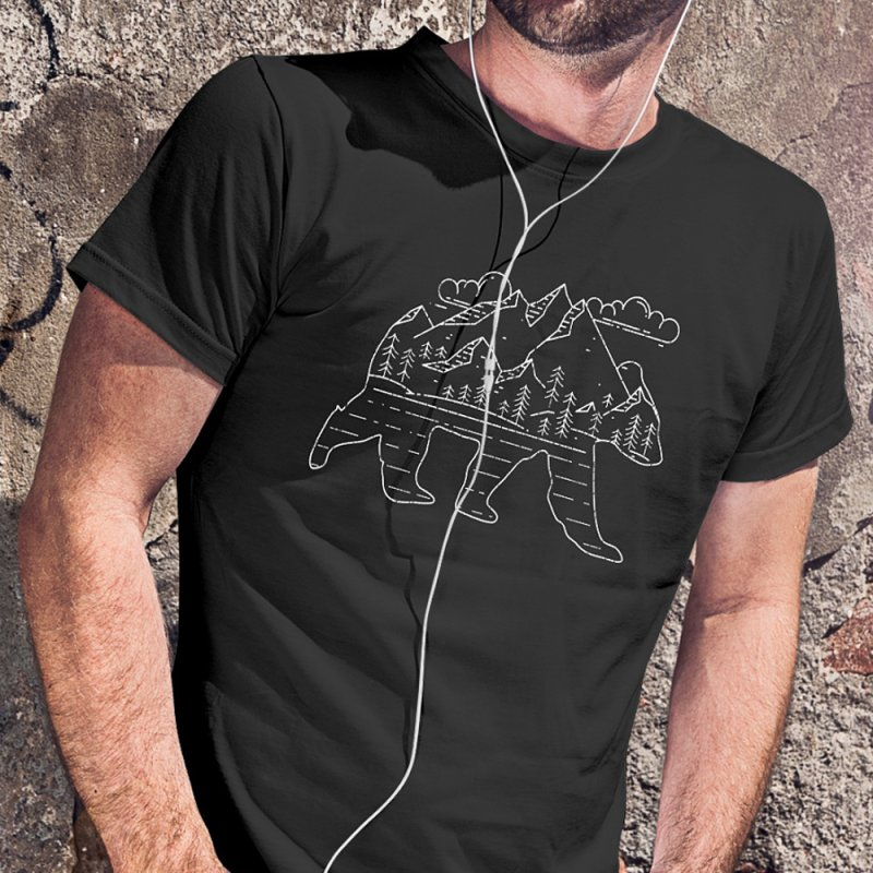 Mountain Bear (White) in Men's T-Shirt Black by The Bearly Brand
