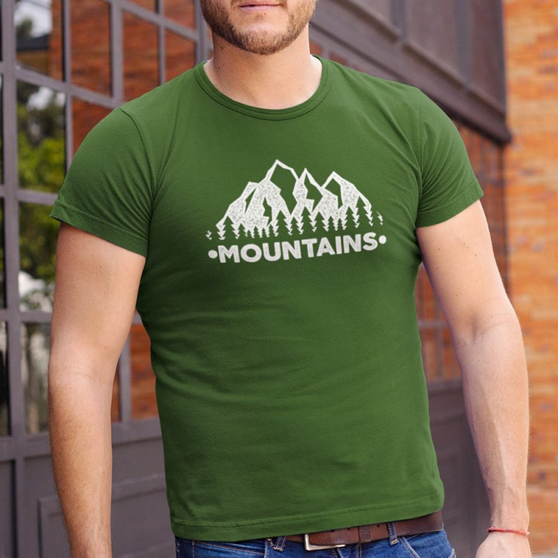 Mountains in Men's Regular T-Shirt Olive by The Bearly Brand