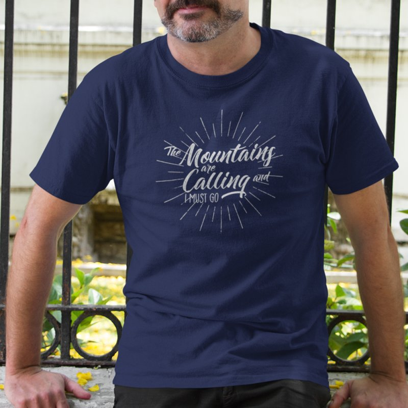 The Mountains Are Calling in Men's Heavyweight T-Shirt Navy by The Bearly Brand