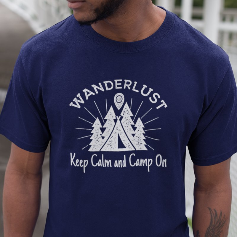 Wanderlust Keep Calm and Camp On in Men's Heavyweight T-Shirt Navy by The Bearly Brand