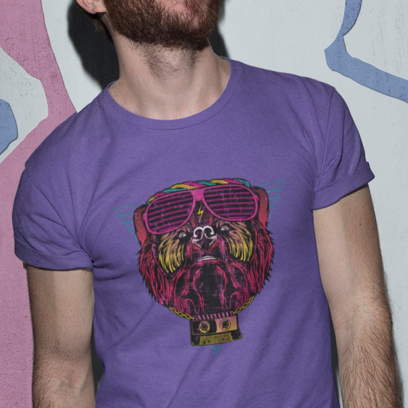 90's Party Bear in Men's Heavyweight T-Shirt Purple by The Bearly Brand
