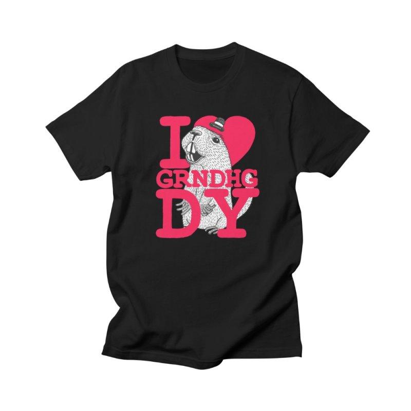 I Heart Groundhog Day in Men's Regular T-Shirt Black by Tom Chitty merch, yo.