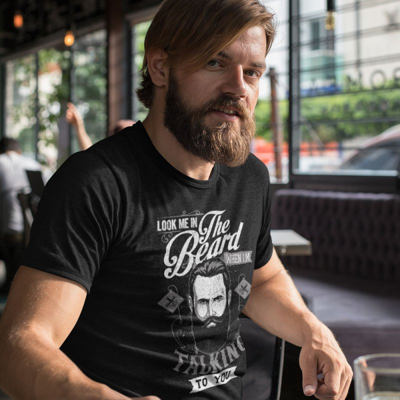 Look Me In The Beard in Men's Extra Soft T-Shirt Black by Toxic Onion