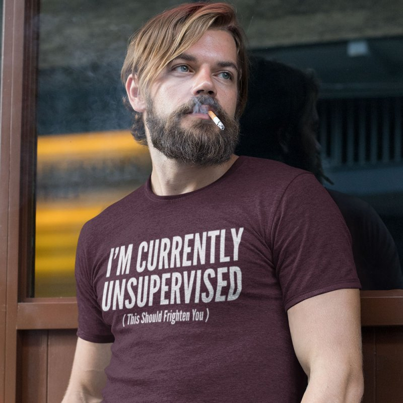 I'm Currently Unsupervised in Men's Extra Soft T-Shirt Maroon by Toxic Onion