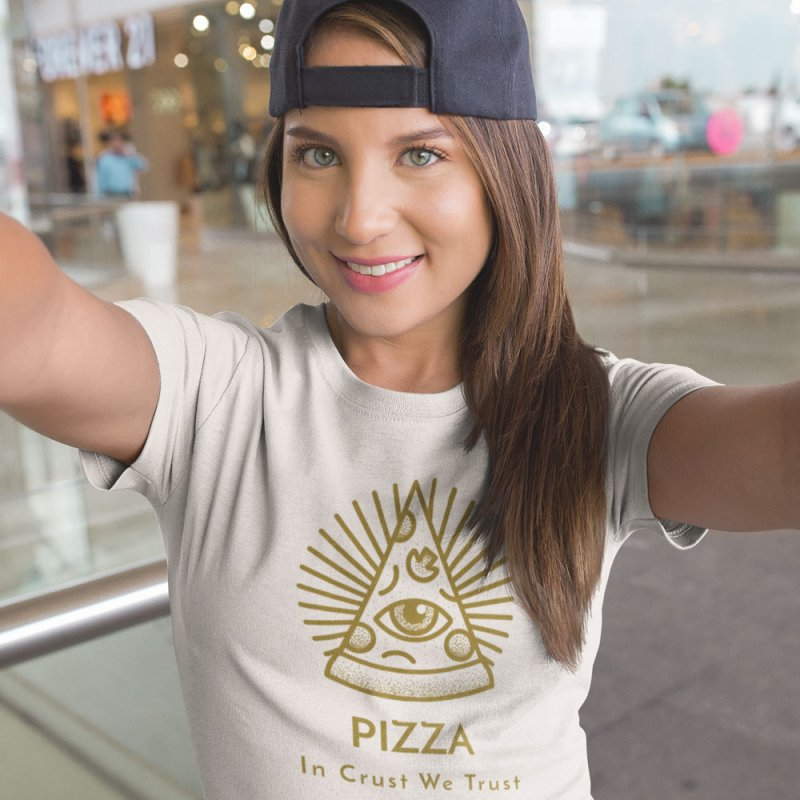 Pizza In Crust We Trust in Men's Extra Soft T-Shirt Stone by Toxic Onion