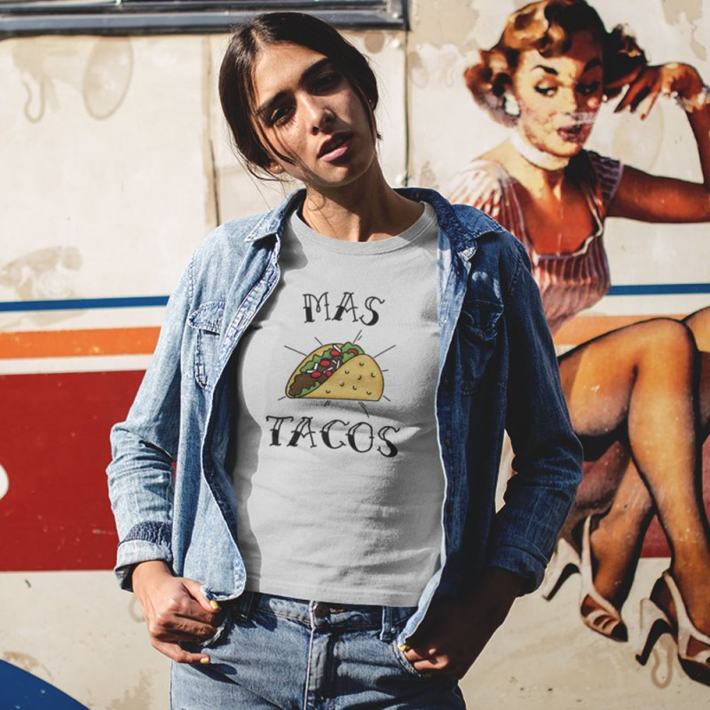 Mas Tacos in Men's Extra Soft T-Shirt Heather Grey by Toxic Onion
