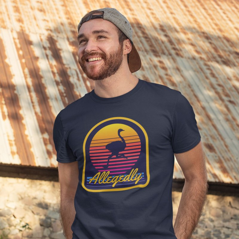 Allegedly Ostrich in Men's Extra Soft T-Shirt Navy by Toxic Onion