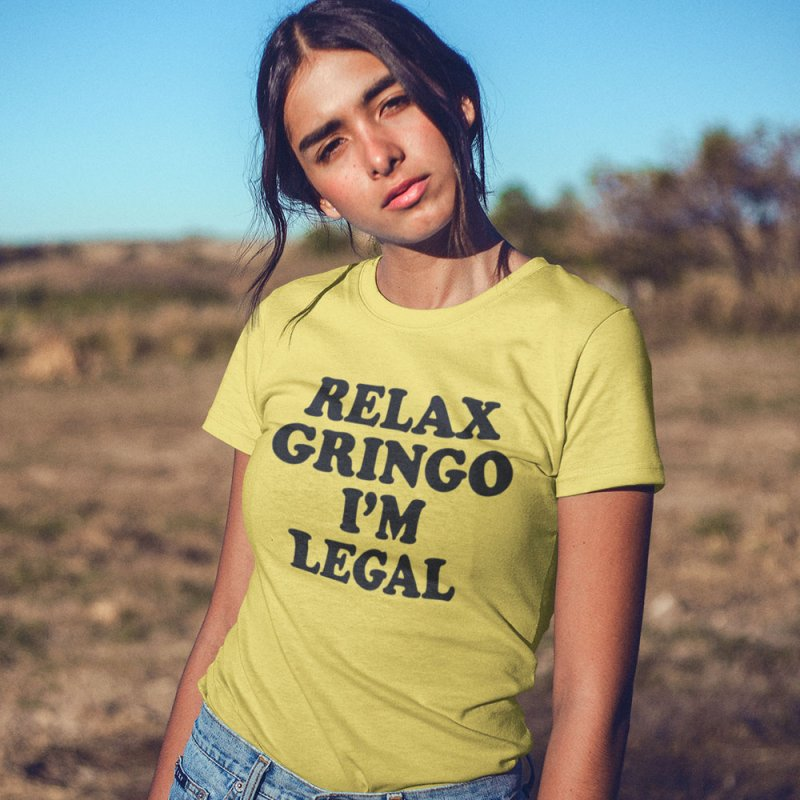 Relax Gringo I'm Legal in Men's Extra Soft T-Shirt Light Yellow by Toxic Onion