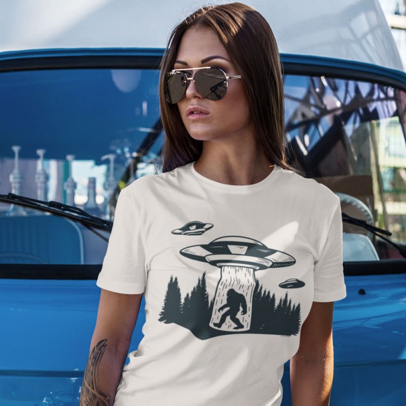 Alien UFO Abduction Of Bigfoot in Men's Extra Soft T-Shirt Stone by Toxic Onion