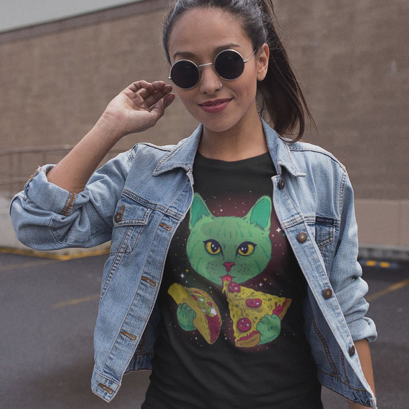 Taco Pizza Cat in Men's Extra Soft T-Shirt Black by Toxic Onion