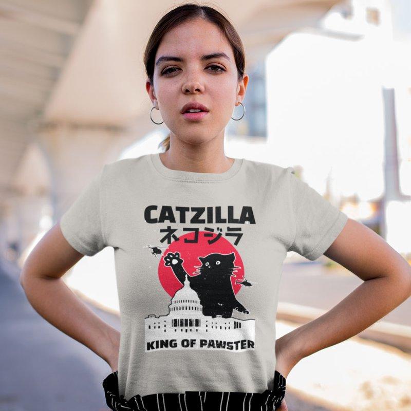 Catzilla in Men's Regular T-Shirt Stone by Toxic Onion