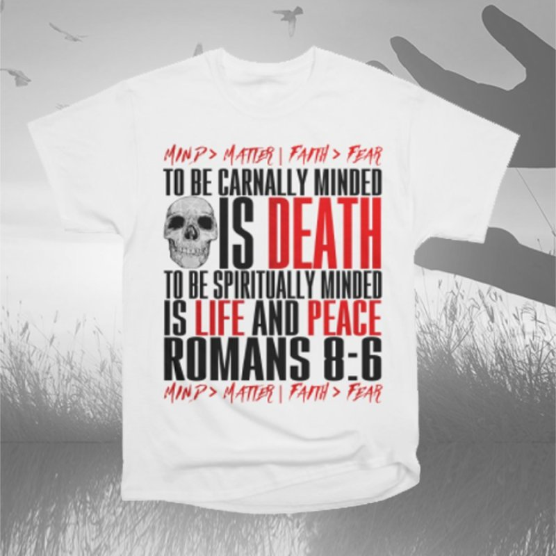 Spiritually Minded | Romans 8:6 (White) in Men's Heavyweight T-Shirt White by TruthSeekah Clothing