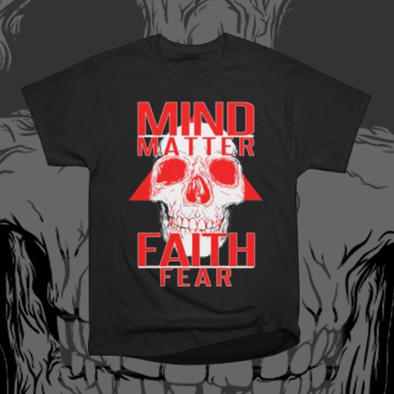 Mind > Matter > Faith > Fear Skull Tee in Men's Classic T-Shirt Black by TruthSeekah Clothing