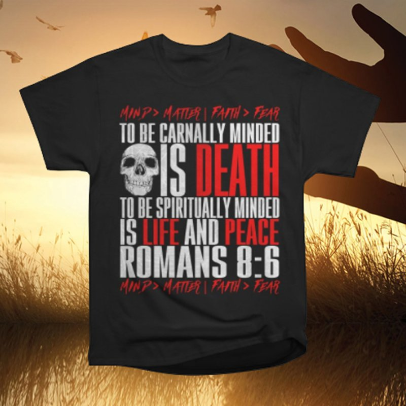 Spiritually Minded | Romans 8:6 in Men's Heavyweight T-Shirt Black by TruthSeekah Clothing