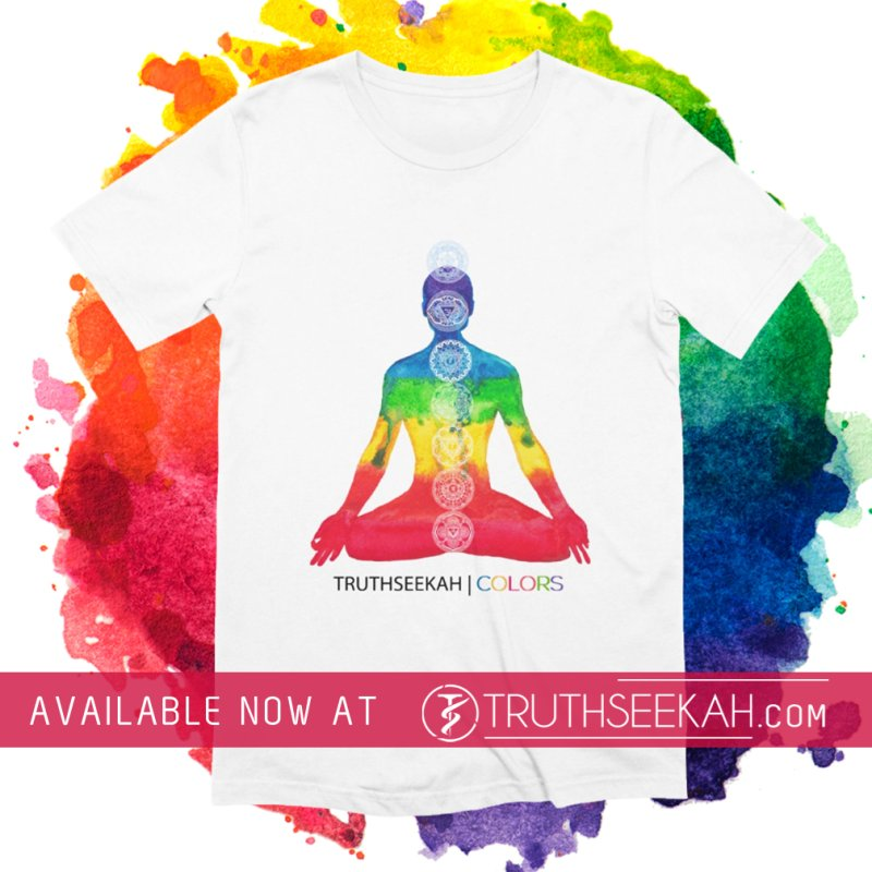 COLORS Chakra Tee in Men's Extra Soft T-Shirt White by TruthSeekah Clothing