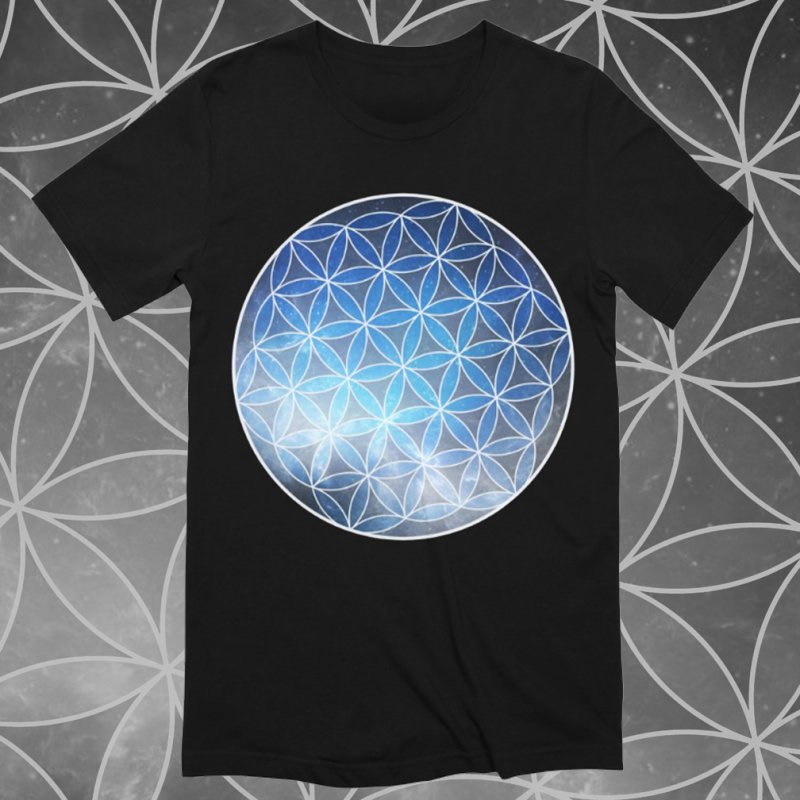 Flower Of Life | Sacred Geometry Tee in Men's Extra Soft T-Shirt Black by TruthSeekah Clothing