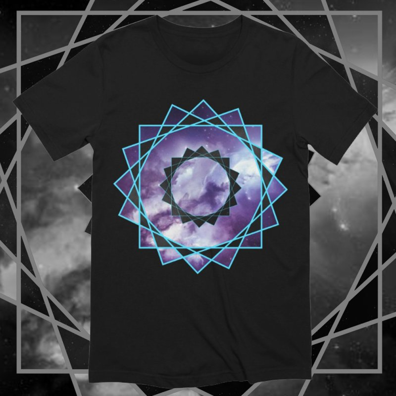 Hexakaidecagon Spiral | Sacred Geometry Tee in Men's Extra Soft T-Shirt Black by TruthSeekah Clothing