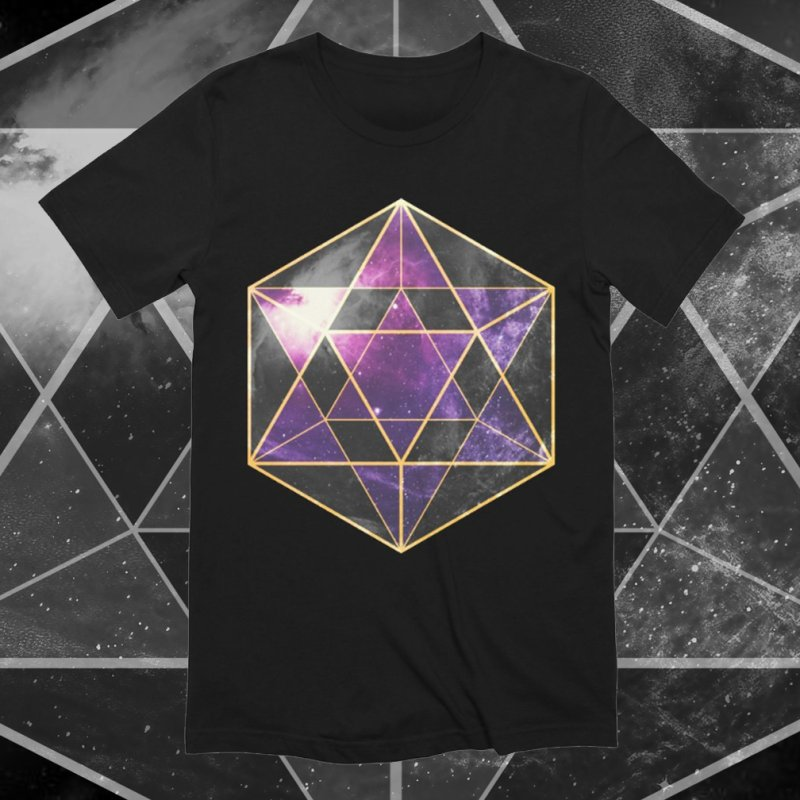 Icosahedron | Sacred Geometry Tee in Men's Extra Soft T-Shirt Black by TruthSeekah Clothing