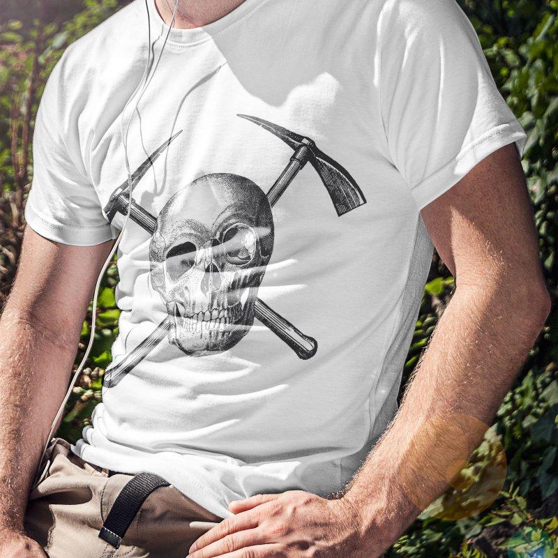 Skull and Cross-picks in Men's Regular T-Shirt Stone by Vet Design's Shop