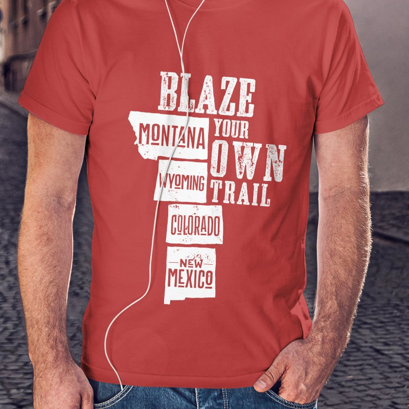 Blaze Your Own Trail in Men's Regular T-Shirt Red by Vet Design's Shop