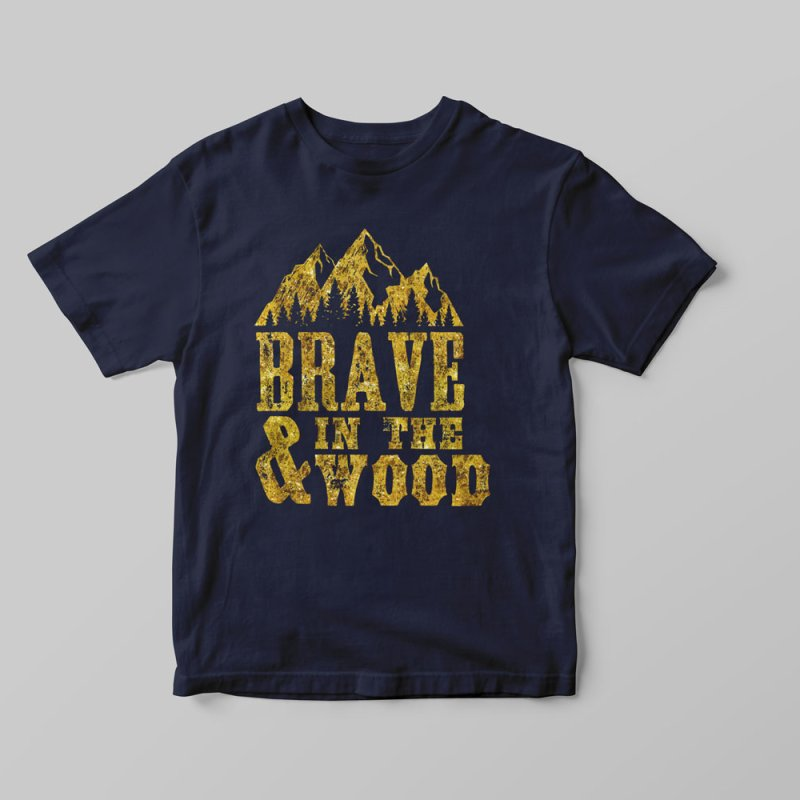 Brave and in the Wood - Gold in Women's Triblend T-Shirt Navy by Vet Design's Shop