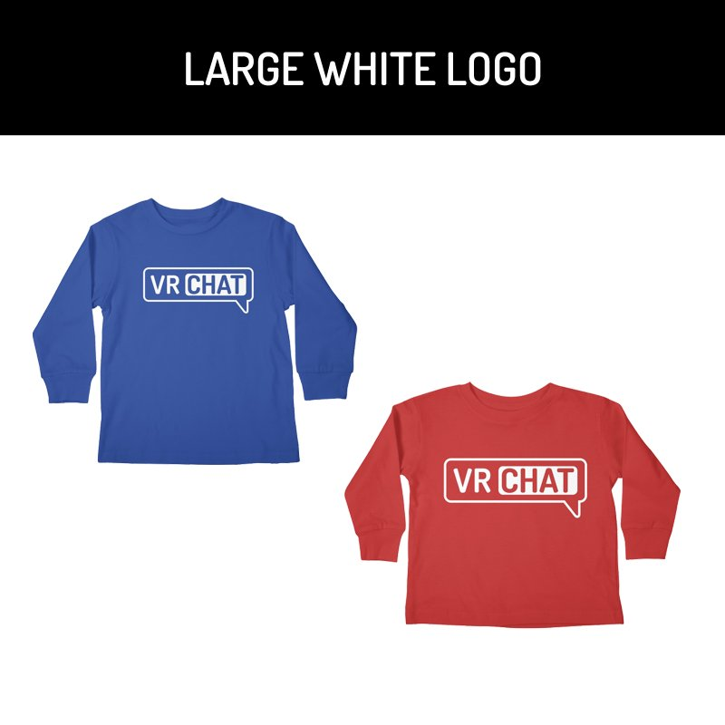 Kid's Long Sleeve Shirts - Large White Logo by VRChat Merchandise