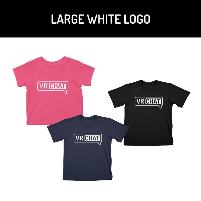 Kid's Short Sleeve Shirts - Large White Logo by VRChat Merchandise