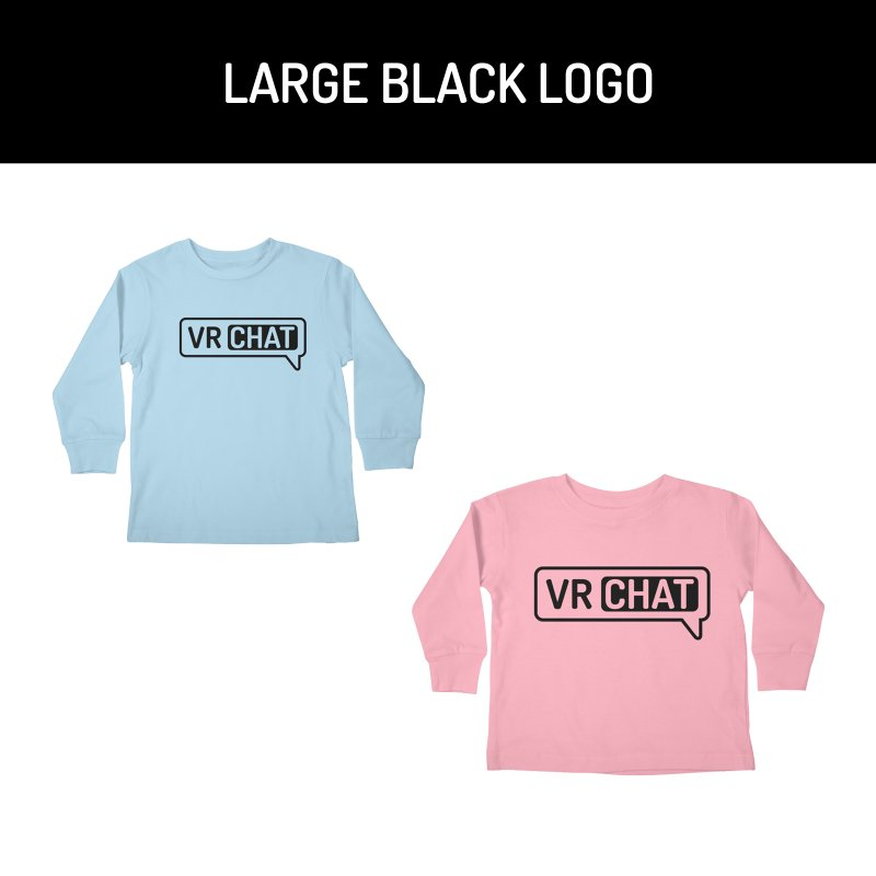Kid's Long Sleeve Shirts - Large Black Logo by VRChat Merchandise