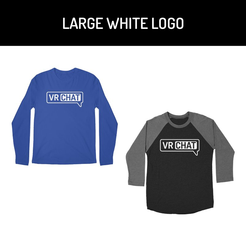 Men's Long Sleeve Shirts - Large White Logo by VRChat Merchandise