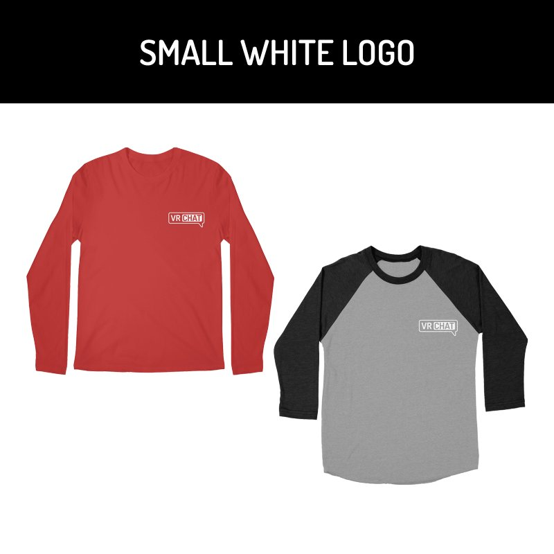 Men's Long Sleeve Shirts - Small White Logo by VRChat Merchandise