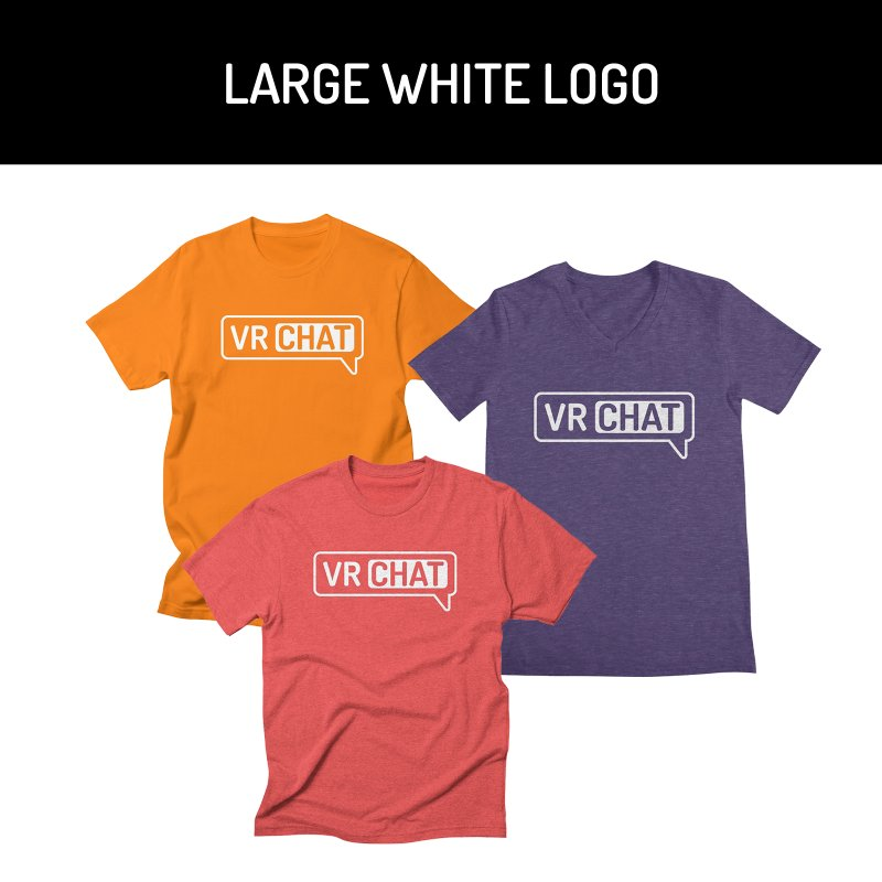 Mens Short Sleeve Shirts - Large White Logo by VRChat Merchandise
