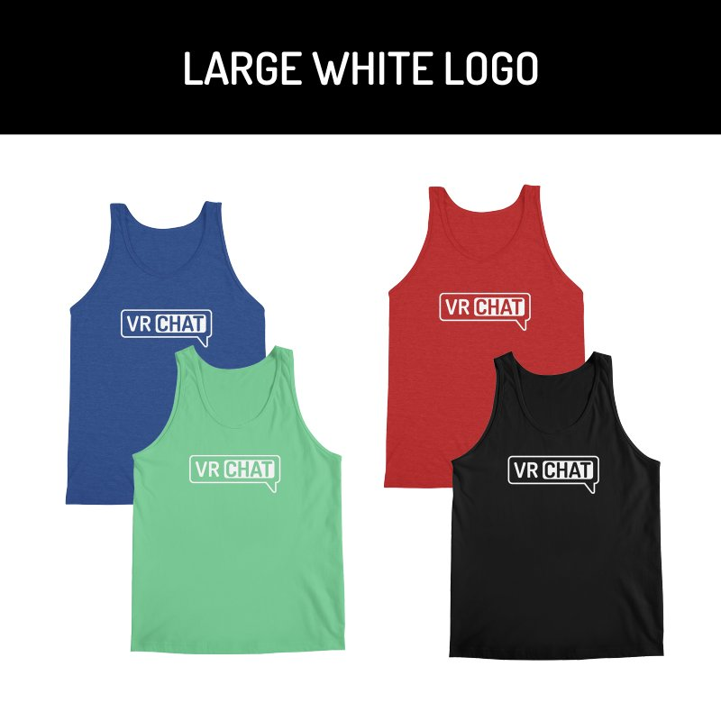 Men's Tank Tops - Large White Logo by VRChat Merchandise