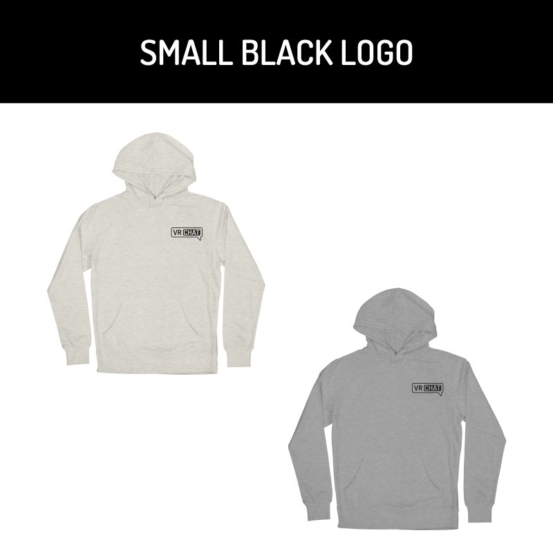 Unisex Pullover Hoodie - Small Black Logo by VRChat Merchandise
