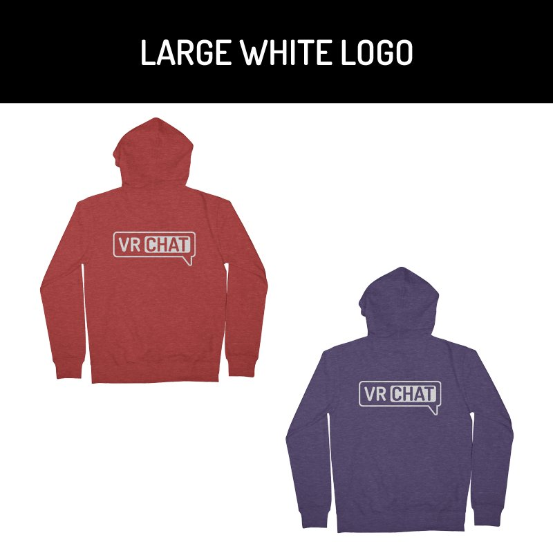 Unisex Zip Up Hoodie - Large White Logo by VRChat Merchandise