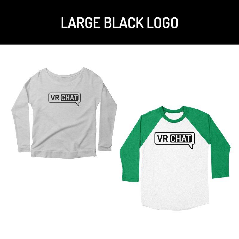 Women Long Sleeve Shirts - Large Black Logo by VRChat Merchandise