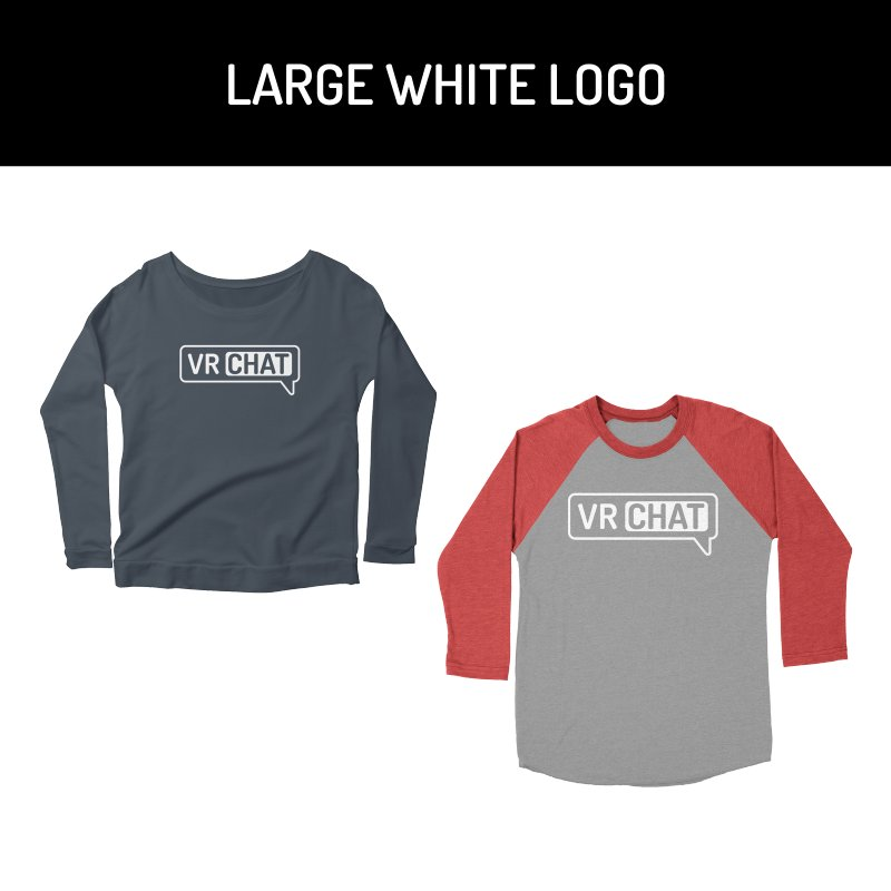 Women Long Sleeve Shirts - Large White Logo by VRChat Merchandise