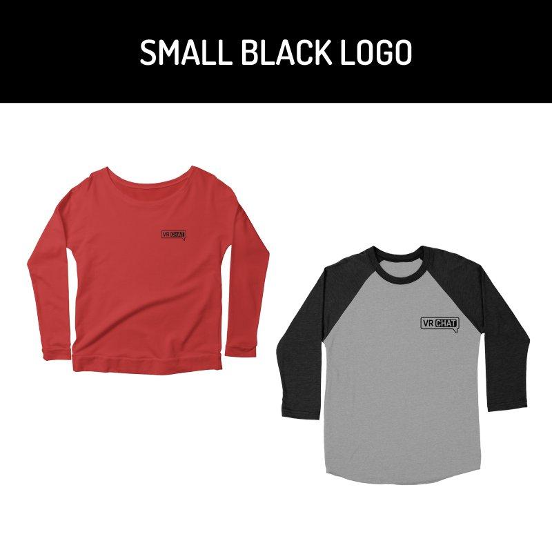 Women Long Sleeve Shirts - Small Black Logo by VRChat Merchandise