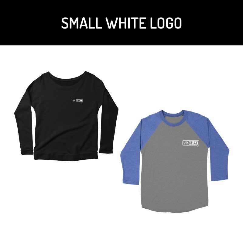 Women Long Sleeve Shirts - Small White Logo by VRChat Merchandise