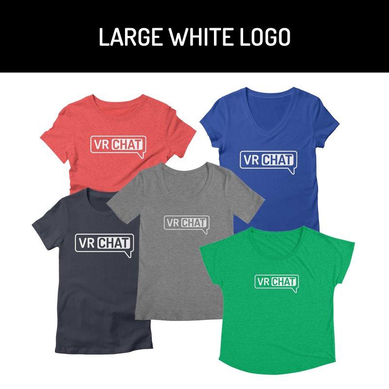 Women Short Sleeve Shirts - Large White Logo by VRChat Merchandise