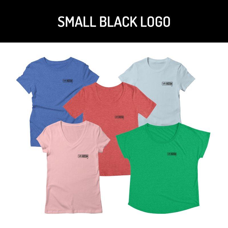 Women Short Sleeve Shirts - Small Black Logo by VRChat Merchandise